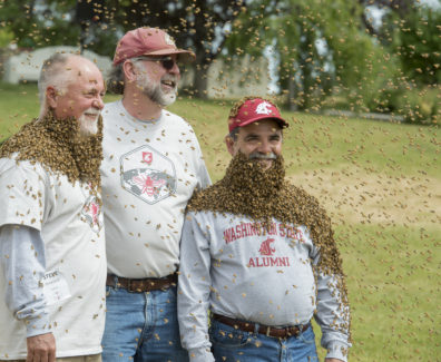 "Provost Dan Bernardo, right, wears his ""bee beard"" along with Tim Lawrence, middle, and Steve Sheppard."