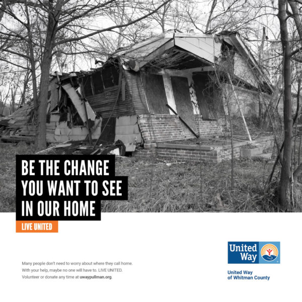 United Way social media graphic featuring a photo of a collapsing house.