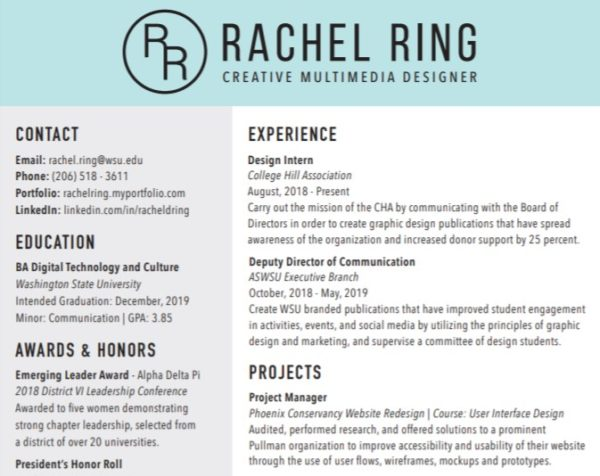 Resume for DTC alumni Rachel Ring
