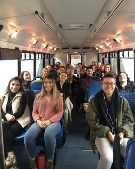 DTC 497 students sit in the Coeur d'Alene Casino and Resort bus.