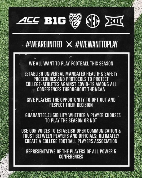 A graphic covering the #weareunited and #wewanttoplay demands for the 2020 college football season