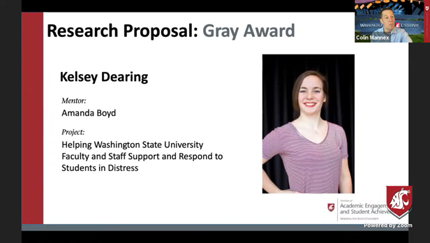 PPT slide with Kelsey Dearing's Gray Award from SURCA