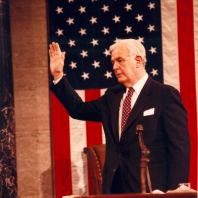 Foley being sworn in, 1989
