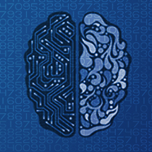 Image: Halved brain, one side is organic and the other is a circuit board on blue background