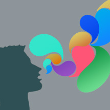 Image: Head shape with multiple colorful speech bubbles coming out of mouth