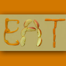 Image: EAT spelled out in vegetables and fruits