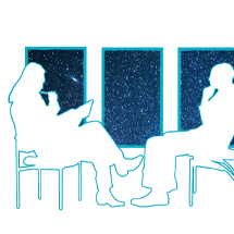 Image: Two silhouettes of people interviewing. Behind them are three windows looking out into outer space filled with stars.