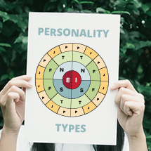 Female holding a personality types chart in front of her face