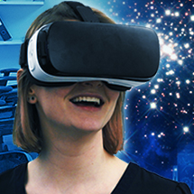 Woman wearing Virtual Reality head set