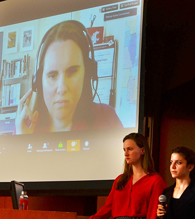 WSU Global Campus student Kari Whitney shown here presenting from her computer in the Global Case competition, April, 2016. Kari and her team, Dignity Before Detention, were crowned champions of the Global Case Competition.