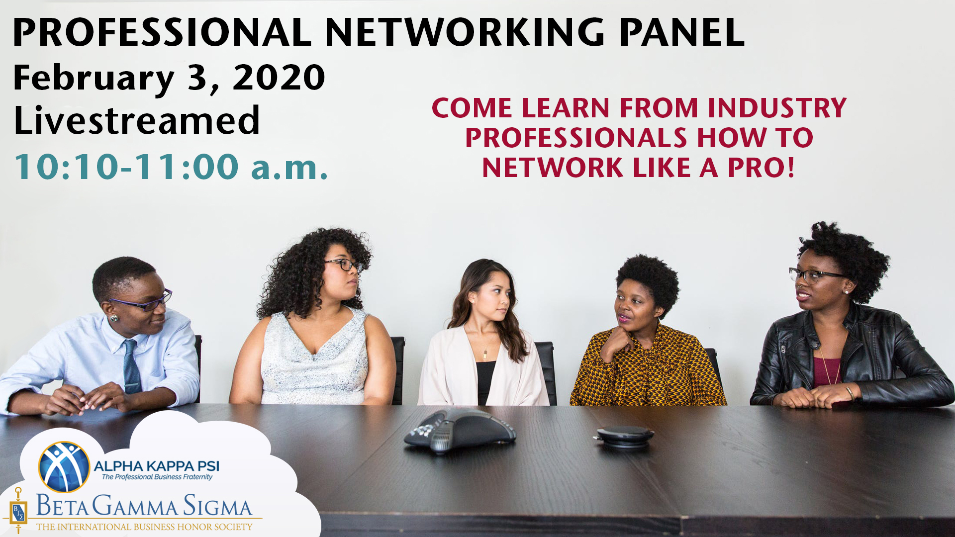 Graphic: Professional Networking Panel. Diverse group sits behind conference table.