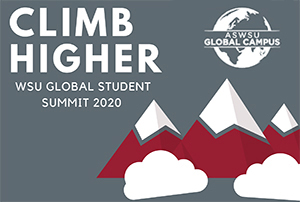 Graphic: Climb Higher WSU Global Student Summit 2020.