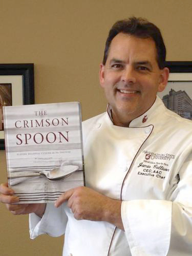 Photo: Chef Jamie Callison holds his cookbook, The Crimson Spoon.