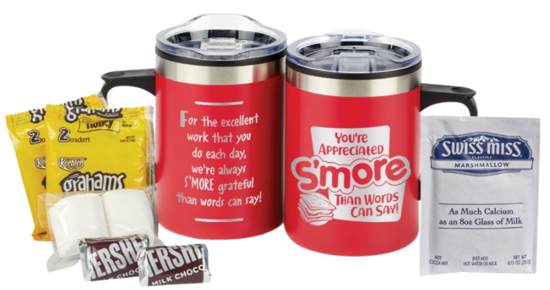 """Mug featuring """"Youre appreciated smore than words can say"""" text."""