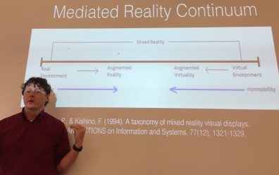 Dr. McMahon presenting on mediated reality continuum.