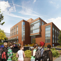 Artist's rendering of DCB with students in foreground