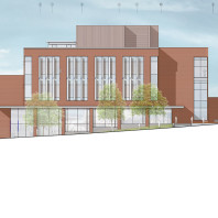 architectural drawing of DCB, east side