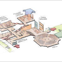 diagram of floor plan of DCB