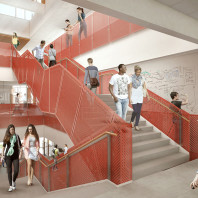 artist's rendering of DCB interior, stairs