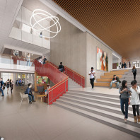artist's rendering of DCB interior, lobby