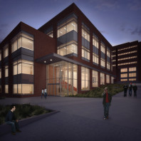 artist's rendering of DCB exterior at night