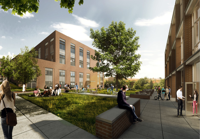 artist's rendering of DCB with students on lawn