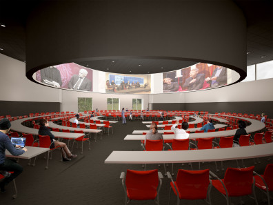 artist's rendering of DCB interior, classroom in the round