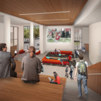 artist's rendering of DCB interior, viewing area