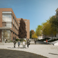 artist's rendering of DCB exterior, north view