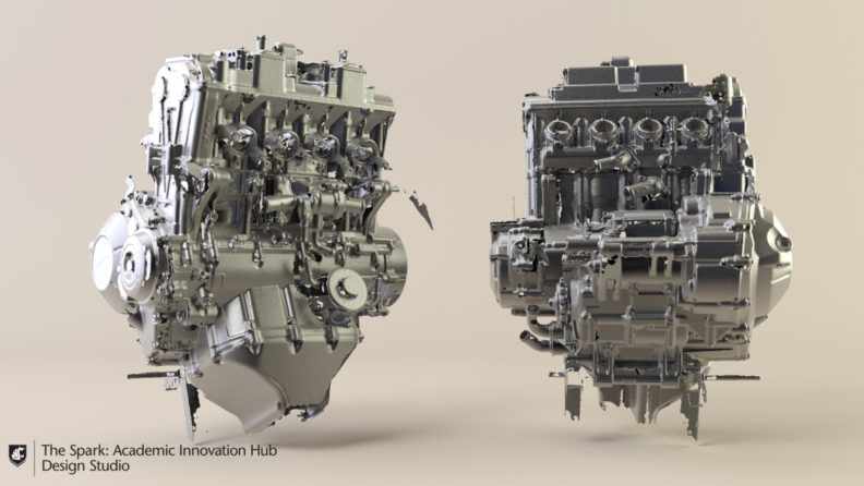3D scan of 2016 cbr650f engine.