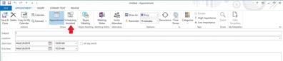Screenshot: Outlook Scheduling Assistant button.