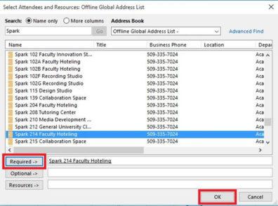 Screenshot: Outlook Required button.