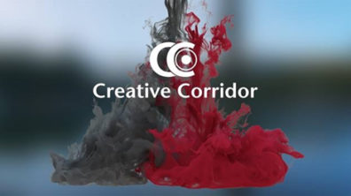 Photo: Two drops of ink in water, one crimson, one gray, in background, text and logo Crimson Corridor in foreground.