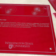 Photo: Wall plaque of Cannon Shot Wall. After each Cougar Football touchdown, WSU's cannon is fired as a celebration of achievement and success. That concussive sound is visualized here as the Spark Rings. Located on the outside of the round classroom in the heart of the Spark building, this design is a visual reminder to continue the celebration of our hard work and achievements.