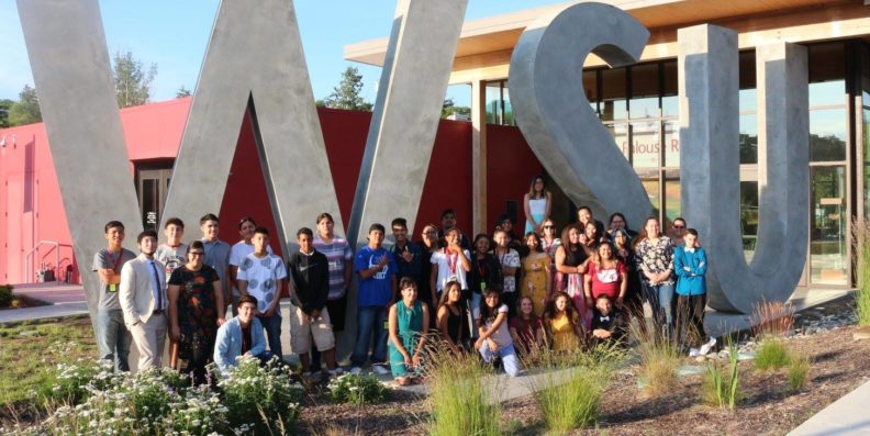 Students outside the WSU Visitor's Center