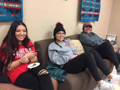 Students enjoy a meal in the Native Center