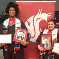 December 2018 graduates Malik Johnson (Blackfeet) and Becka Oehler (Tlingit).