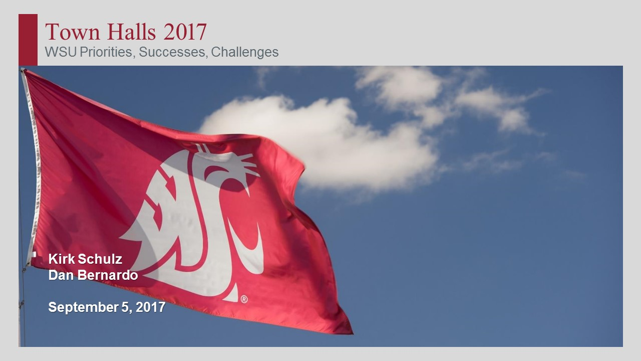 Town Hall 2017, WSU Cougar flag waving in the sky