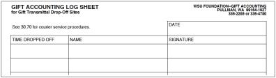 Gift Accounting Log Sheet