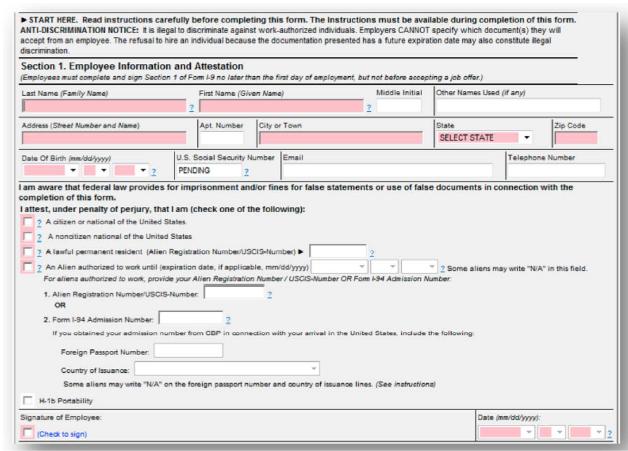 8.8 Employment Eligibility Verification–USCIS Form I-8 ...
