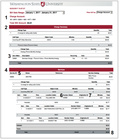 ITS Online Customer Billing Statement full detail report