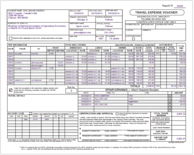 Page 1 of a TEV showing a trip to high-cost area, annual leave in travel status, and other details