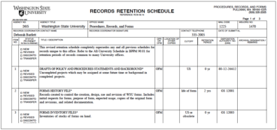 Department Retention Schedule example