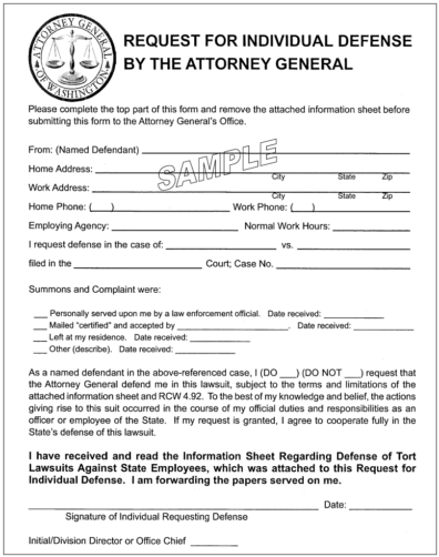 Sample of Request for Individual Defense by the Attorney General