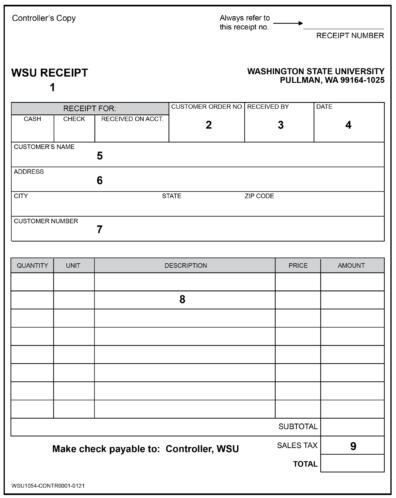 WSU Receipt Form