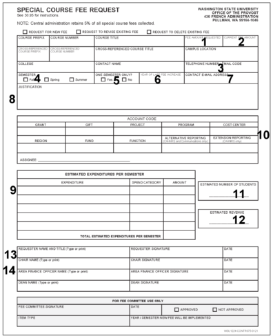 Special Course Fee form