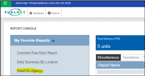 Comdata Reconciliation Report selection detail by agency
