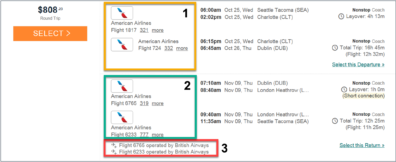 Example of a compliant round trip ticket purchase