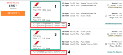 Example of round trip ticket option that is not compliant