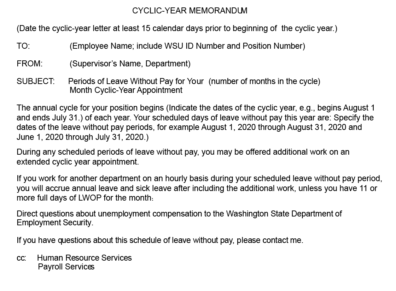 Example Cyclic-Year Memo